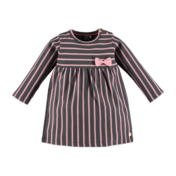 Striped Long Sleeve Dress, Grey & Pink