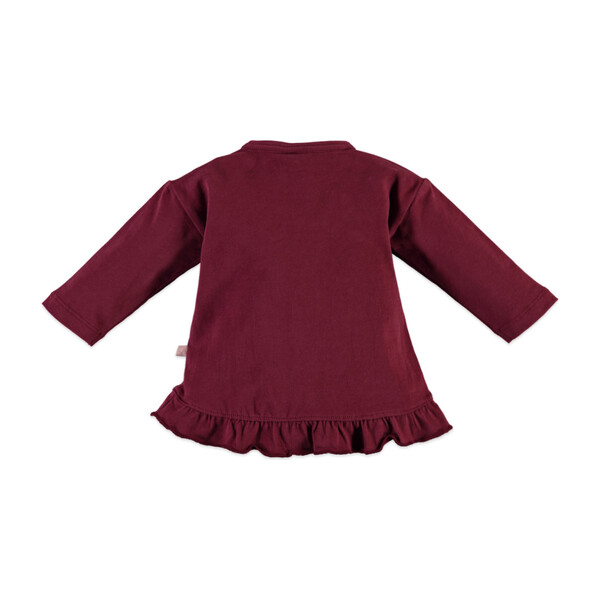 Ruffles Long Sleeve Tee, Burgundy