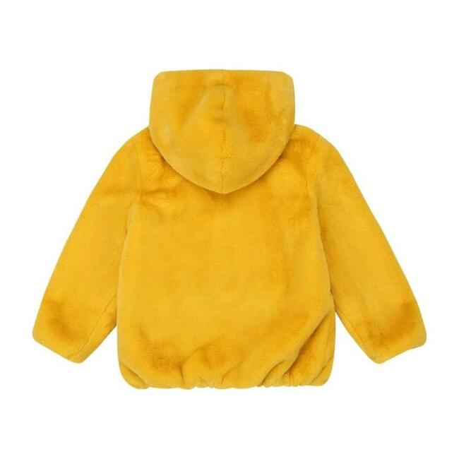 Hooded Faux Fur Jacket, Yellow