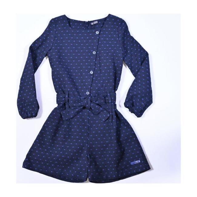 Polka Dot Overall Dress, Navy
