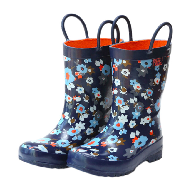 Rain Boots, Navy Flower