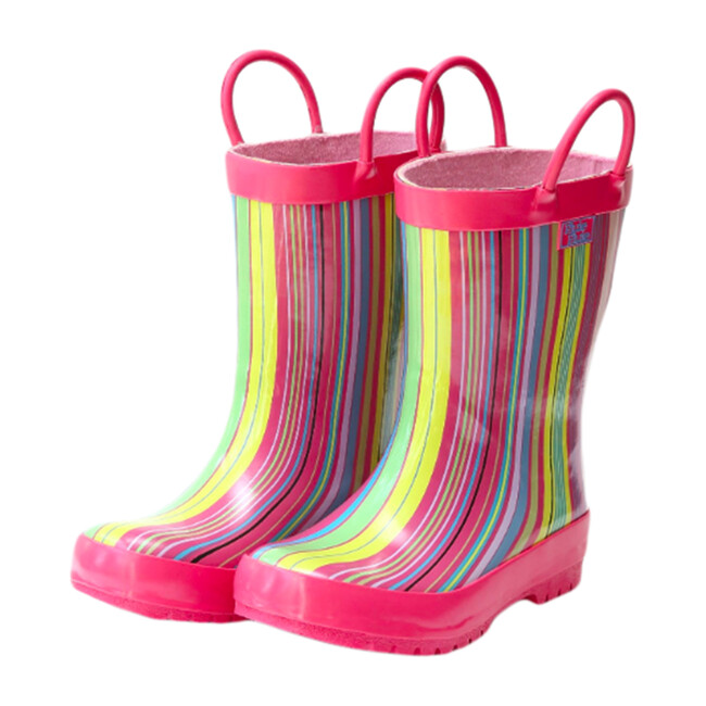 Rain Boots, Pink Stripe