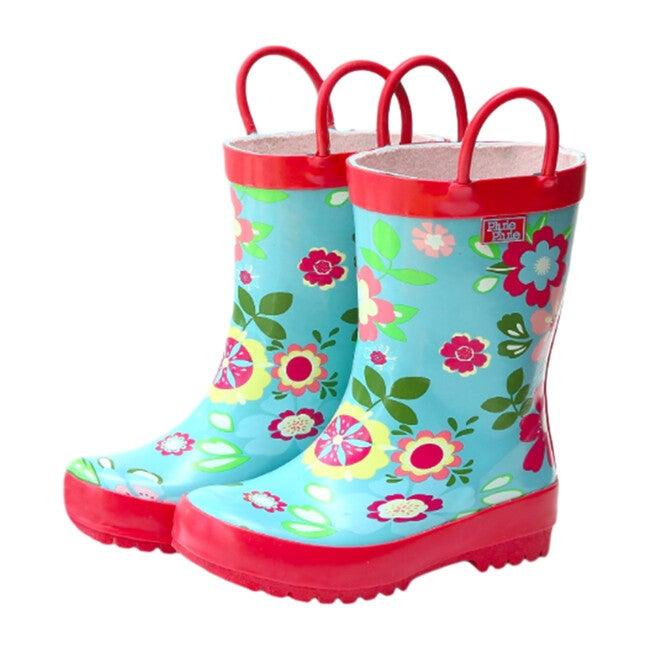 Rain Boots, Blue Floral