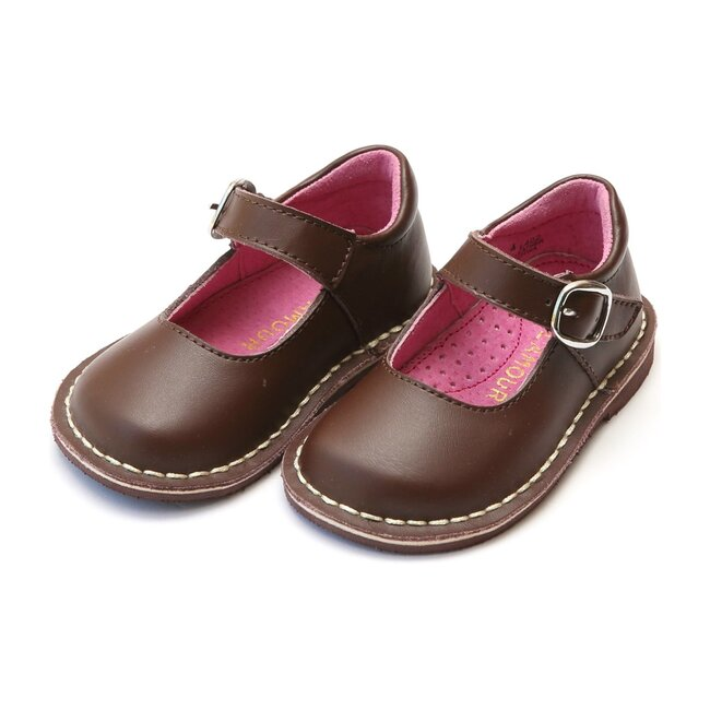 Grace Leather Stitch Down School Mary Jane, Brown