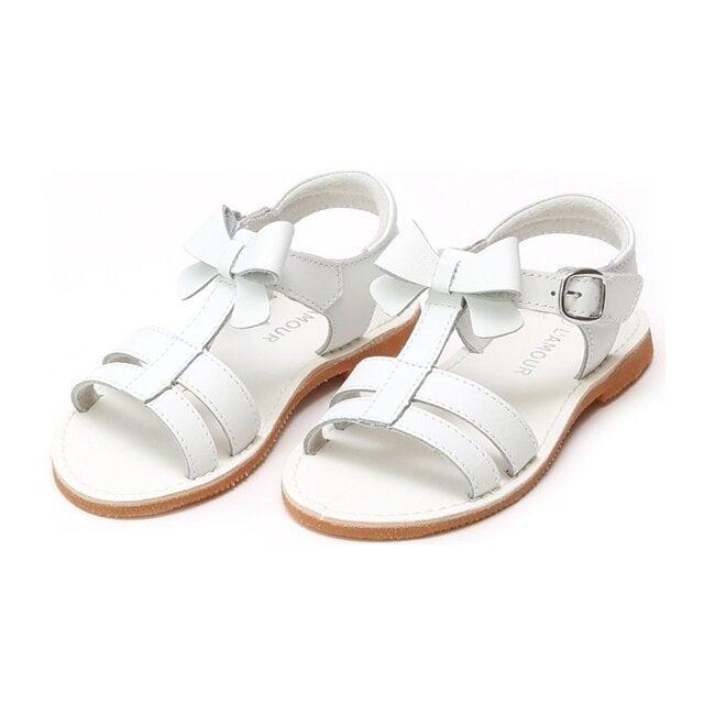 Janie T-Strap Bow Sandal, White