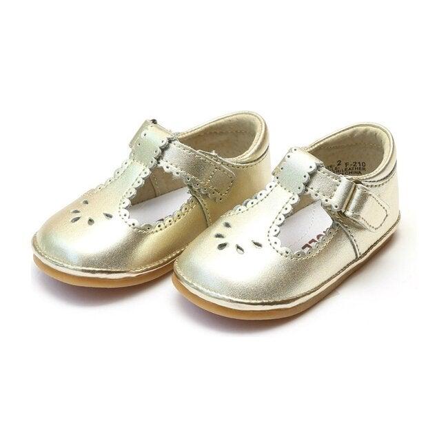 Baby Dottie Scalloped T-Strap Metallic Mary Jane, Gold