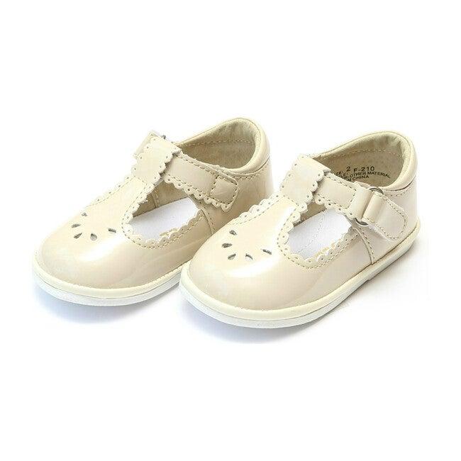 Baby Dottie Scalloped T-Strap Patent Mary Jane, Cream