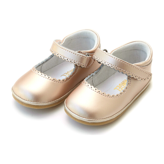 *Exclusive* Baby Cara Metallic Scalloped Leather Mary Jane, Pink Gold