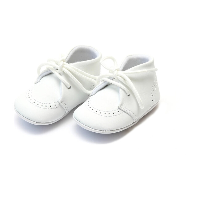 Infant Benny Leather Lace Up Brogue Oxford Crib Shoe, White - Booties - 1