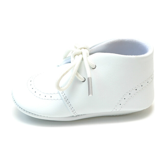Infant Benny Leather Lace Up Brogue Oxford Crib Shoe, White