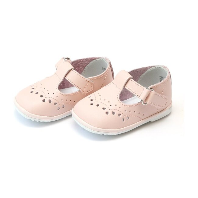 Baby Birdie Leather T-Strap Stitched Mary Jane, Pink