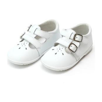 Hattie Double Buckle Leather Mary Jane, White (Baby)