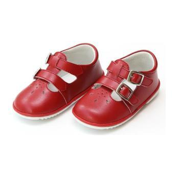 Hattie Double Buckle Leather Mary Jane, Red  (Baby)