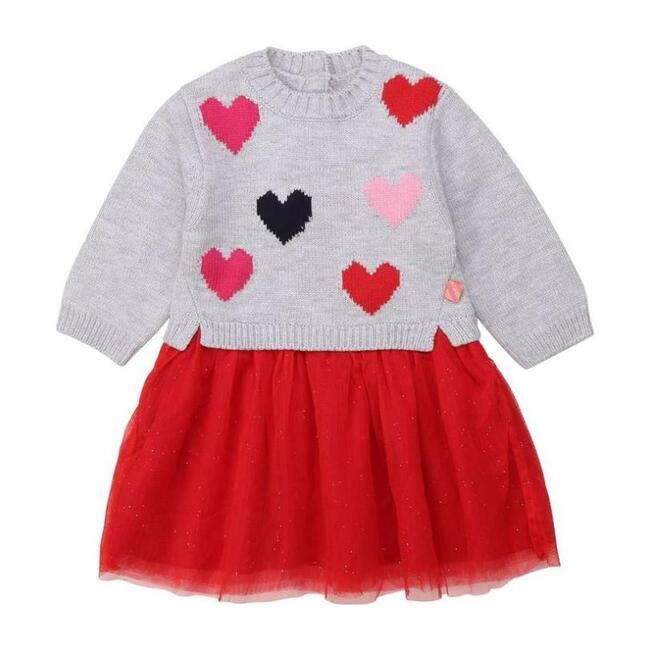 Hearts Jersey Dress, Gray