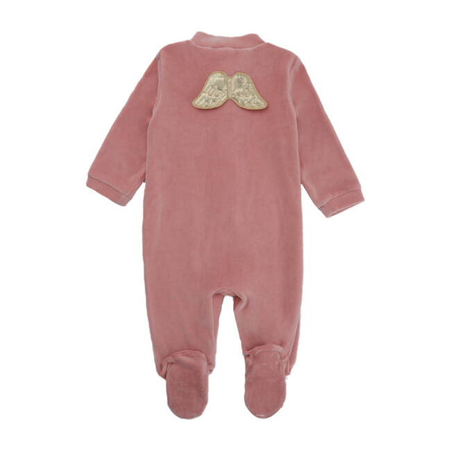 Velour Gold Wings Sleepsuit, Dusty Pink