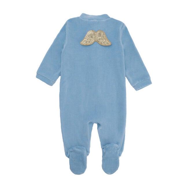 Velour Gold Wings Sleepsuit, Dusty Blue