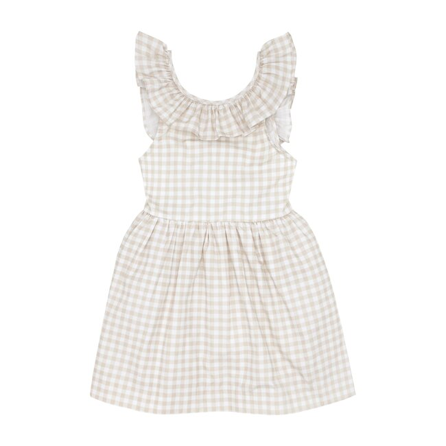 Girls Tan Gingham Ruffle Collar Dress