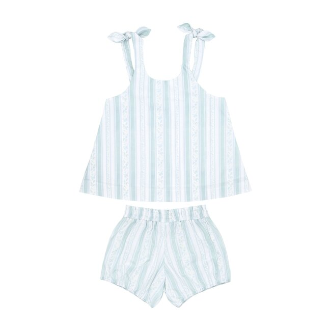 Girls Linear Floral Tie Knot Bloomer Set