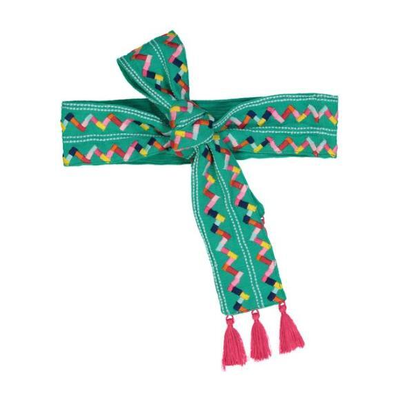 Woven Women's Belt, Emerald Zig Zag