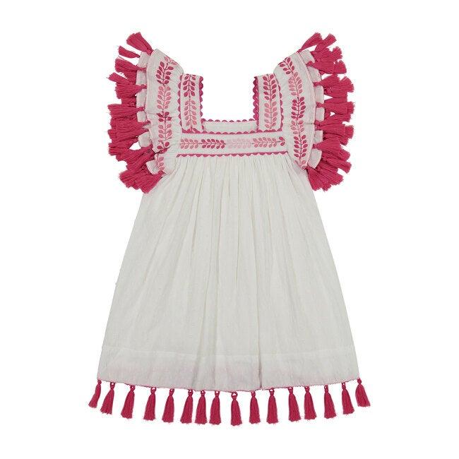 Serena Tassel Dress, White Eyelet