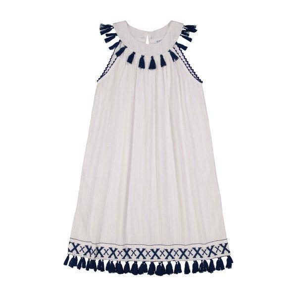 Katrina Women's Ring Collar Shift Dress, Navy Embroidery