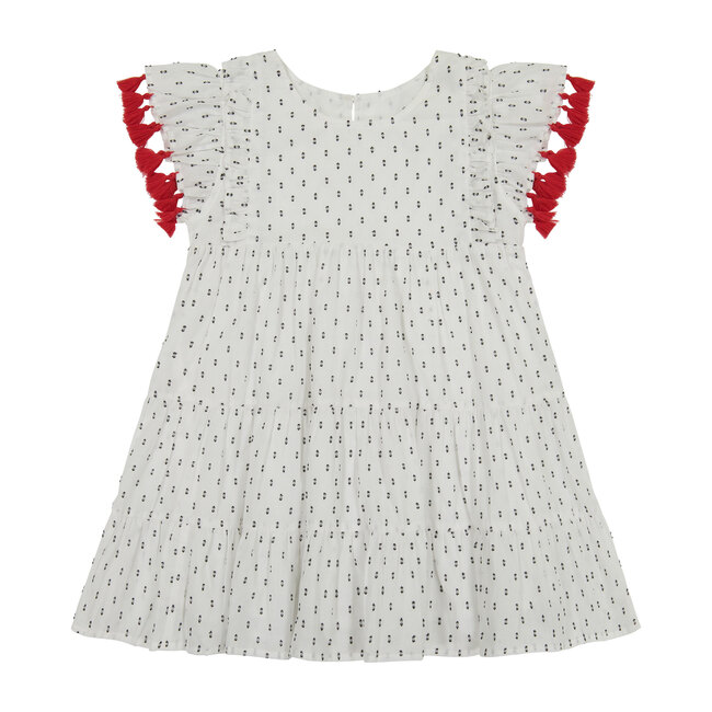 Sophie Tassel Dress, White Swiss Dot
