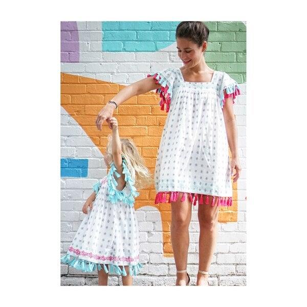 Mini Sandrine Women's Tassel Dress, Navy Block Embroidery