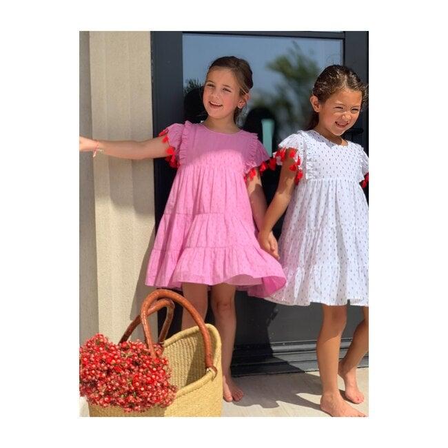 Sophie Tassel Dress, Pink Swiss Dot