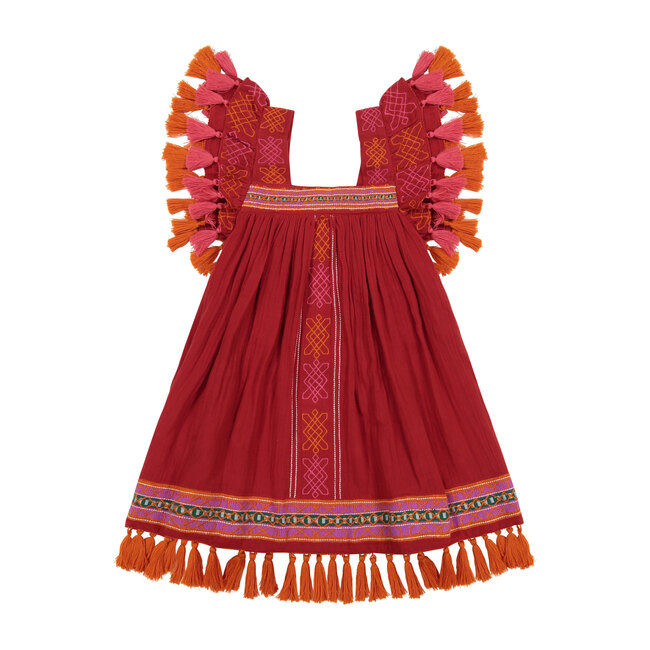 Serena Tassel Dress, Red Embroidery