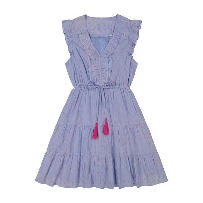 Giselle Women's Mini Dress,  Periwinkle Swiss Dot