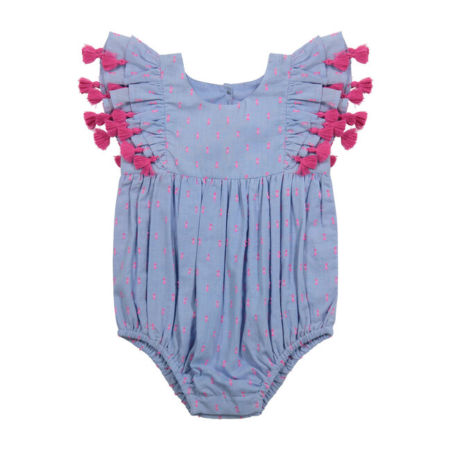 Anna Baby Romper, Periwnkle Swiss Dot