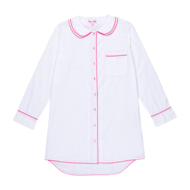 Women's Scallop Night Shirt, White