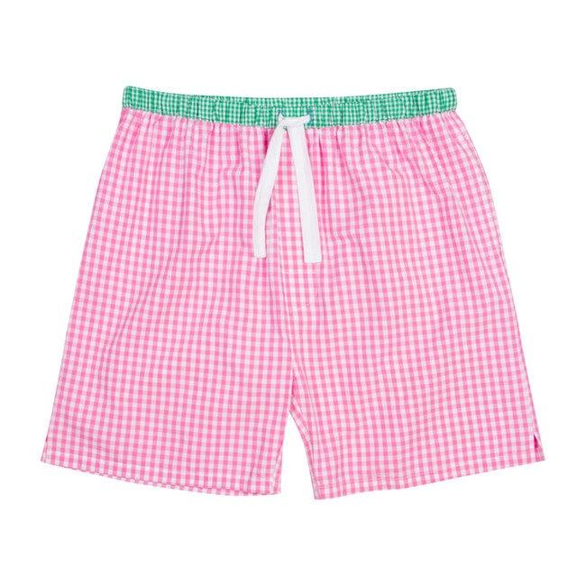 Men's Sleep Shorts, Gingham Pink