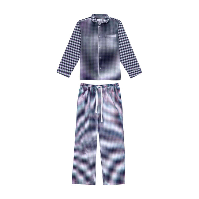 Men's Long Sleeve & Pant Set, Gingham Blue