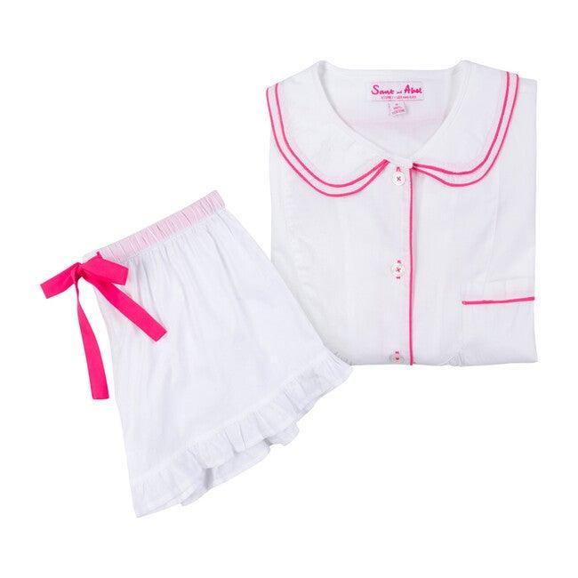 Women's Scallop Short Sleeve & Boxer Set, White