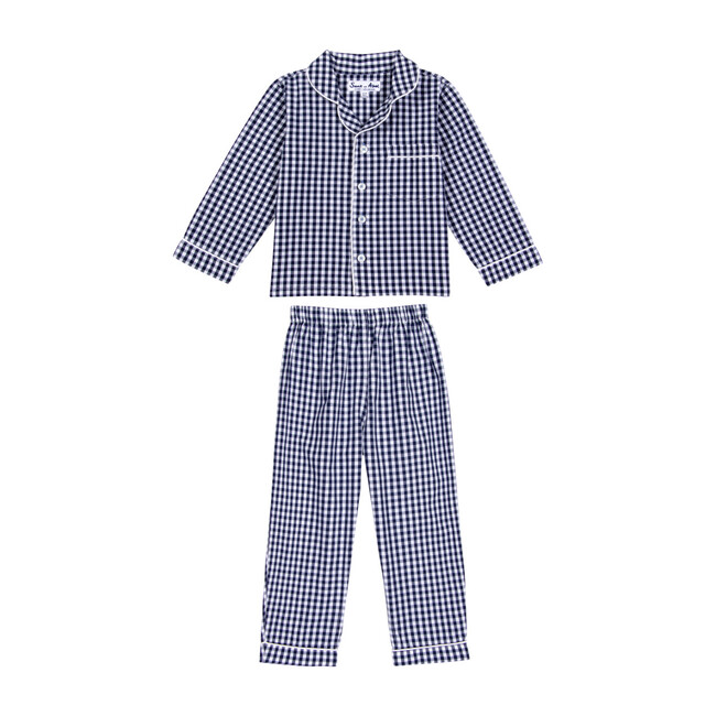 Boys Long Sleeve & Pant Set, Gingham Blue