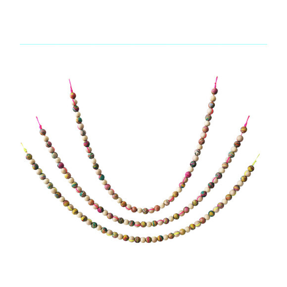 Hand-Marbled Painted Wood Garland, Multi