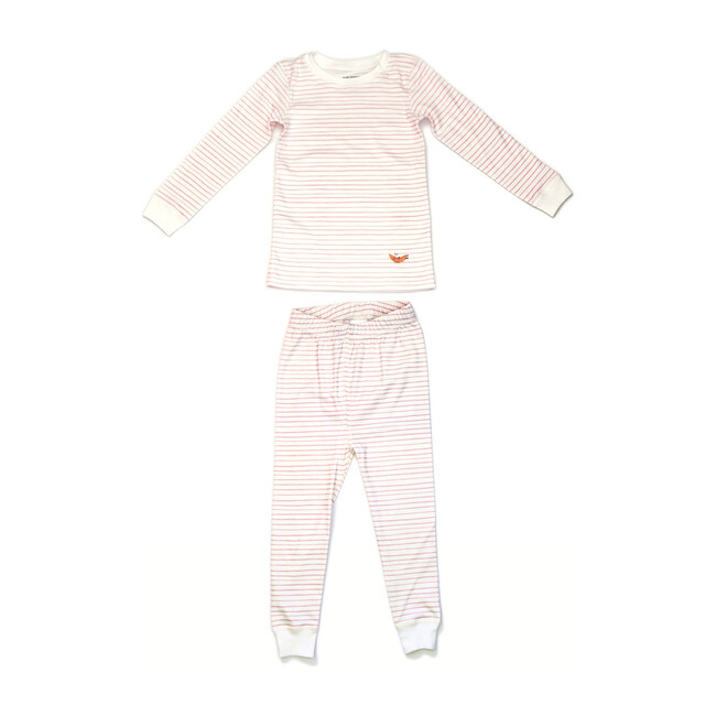Printed Pajama Set, Pink Stripes