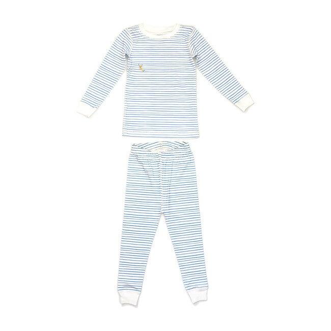 Printed Pajama Set, Blue Stripes
