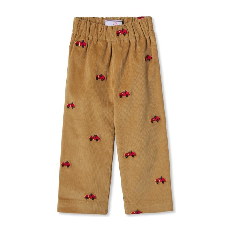 Myles Slim Embroidered Pant, Lark With Red Race Car