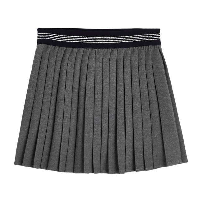 Pleated Flannel Skirt, Dark Grey