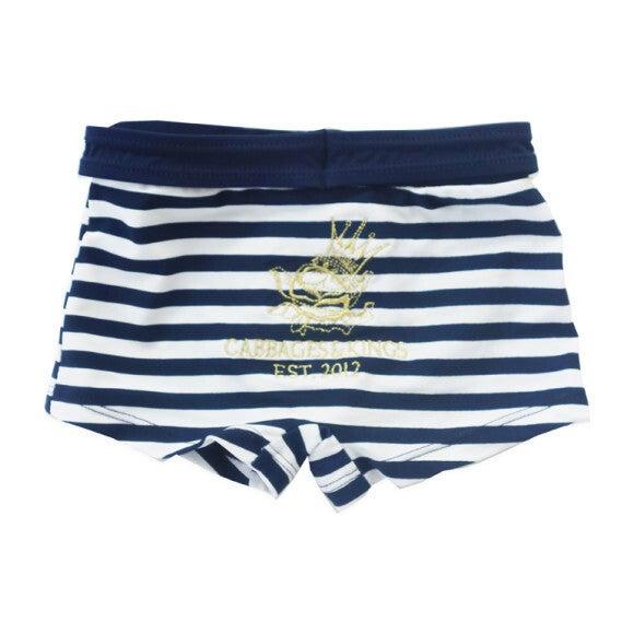Stripe Swim Trunks, Navy & White