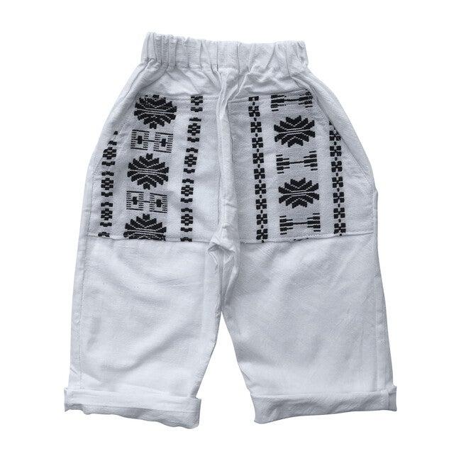 Patterned Oversized-Pocket Pant, Black & White