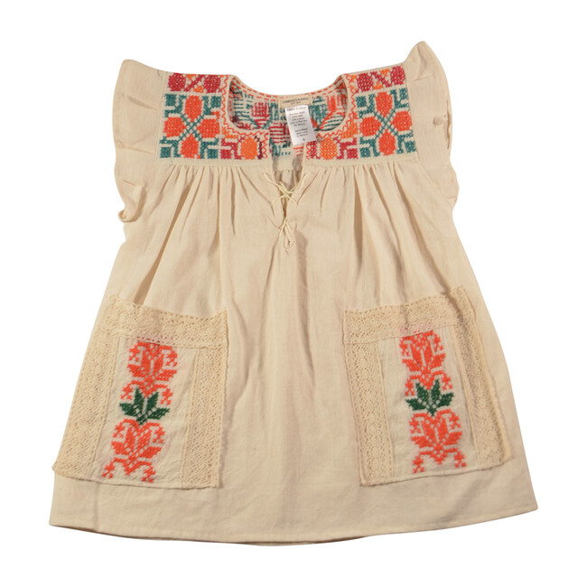 Embroidered Pocket Dress, Red & Orange with Floral Circles