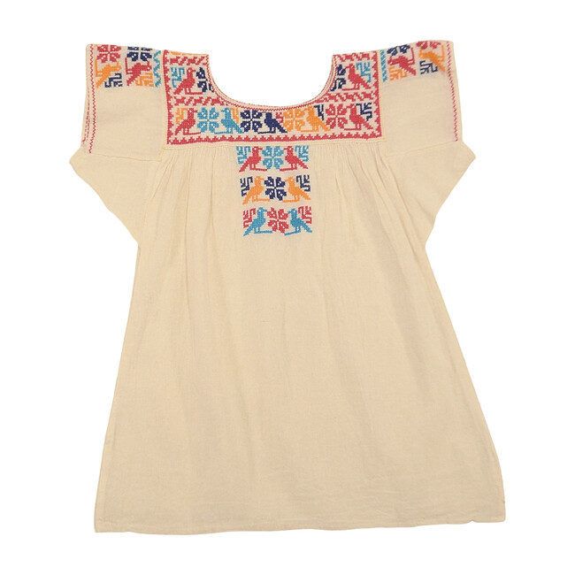 Embroidered Dress to Blouse, Rainbow with Birds