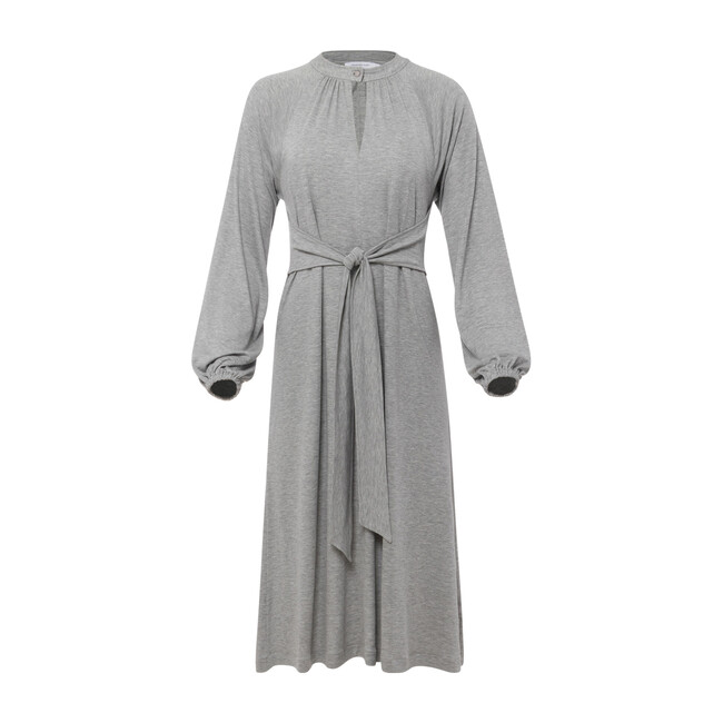 Tie Front Knit Dress, Grey