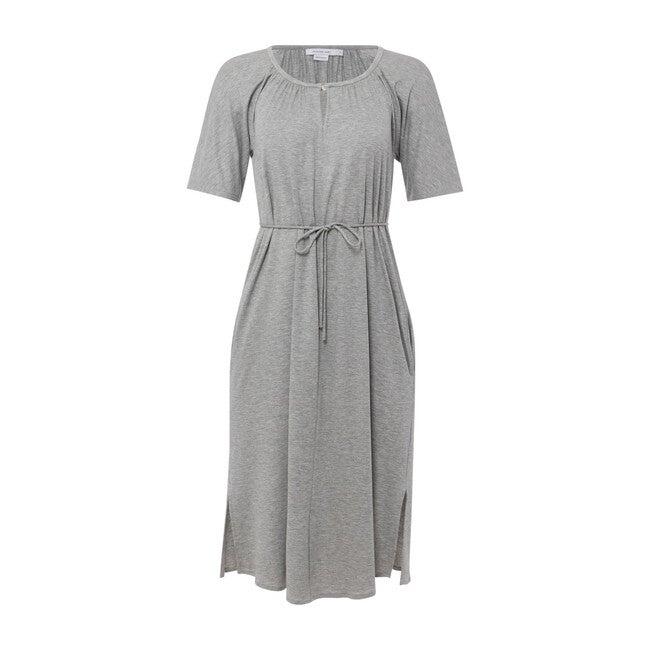 Dolman Sleeve Waist Tie Dress, Heather Grey