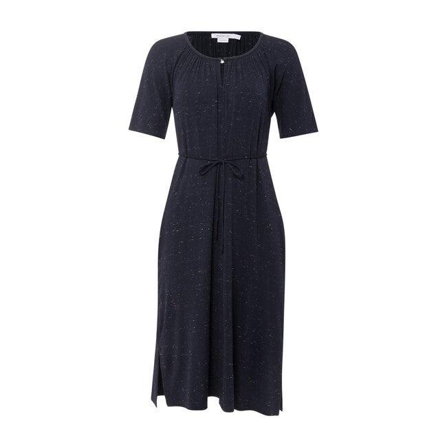 Dolman Sleeve Waist Tie Dress, Marled Navy