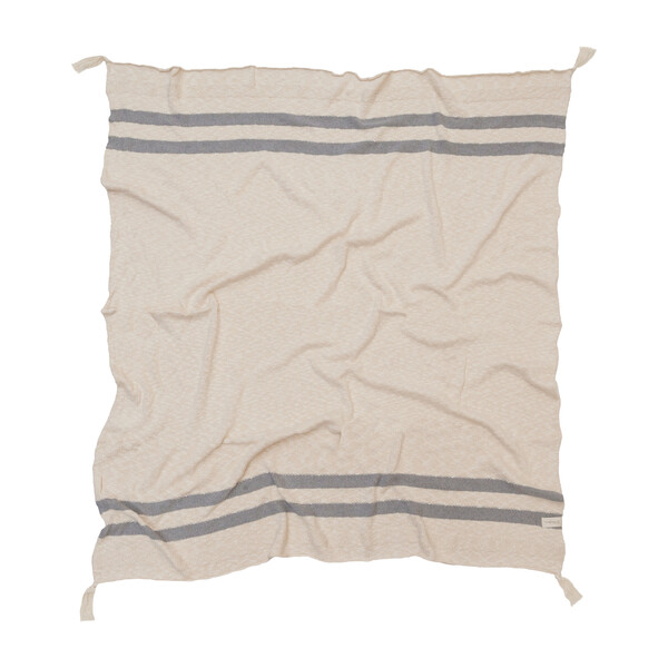 Striped Knitted Blanket, Grey
