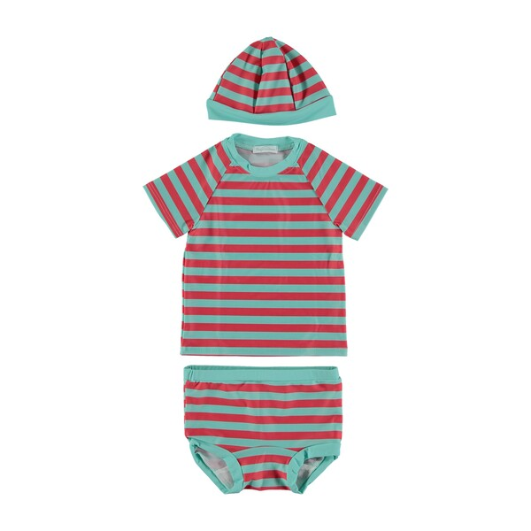 Lou Striped Swim Set, Topical Blue and Red